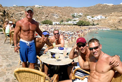 Gay beach in Mykonos, Greece